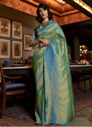 Blue Ceremonial Silk Designer Traditional Saree