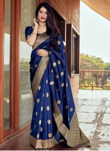 Blue Ceremonial Traditional Designer Saree