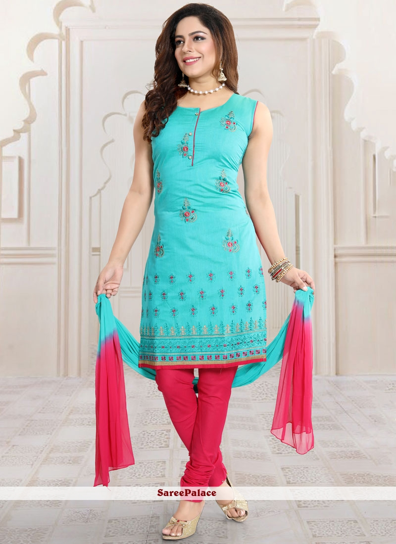 Blue Chanderi Churidar Designer Suit