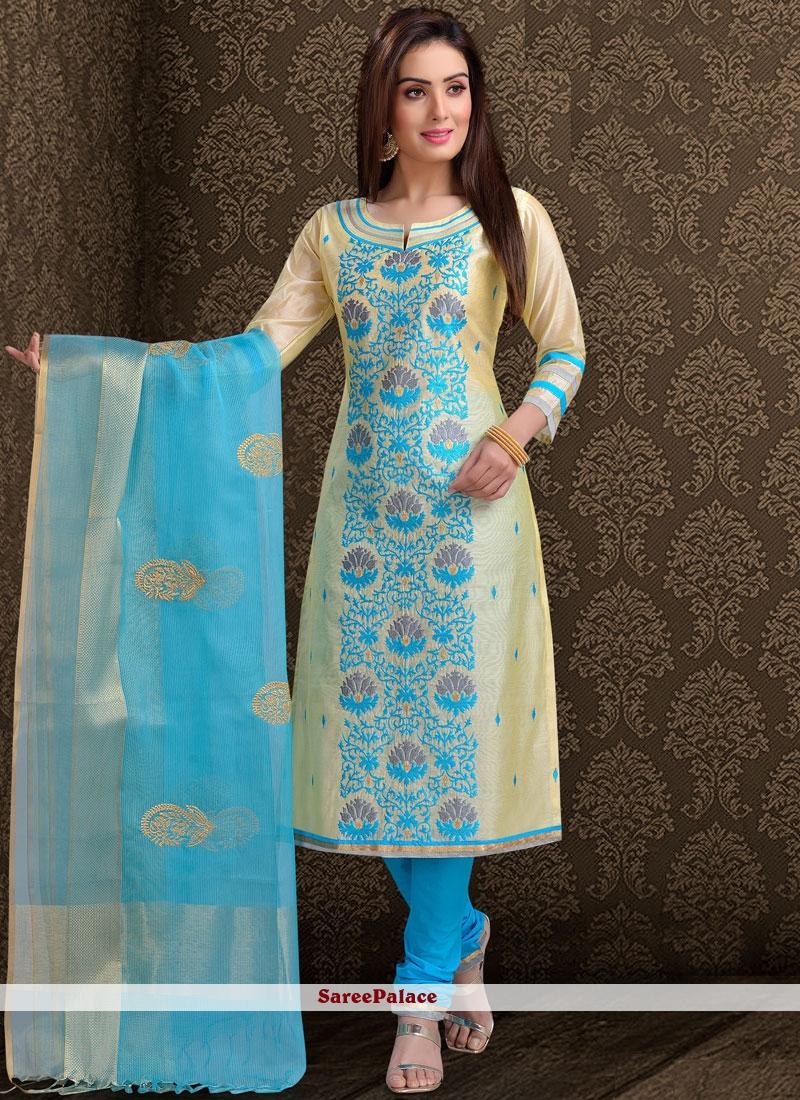 Buy Blue Chanderi Churidar Designer Suit Online