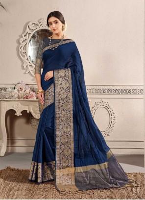 Blue Chanderi Cotton Fancy Traditional Saree