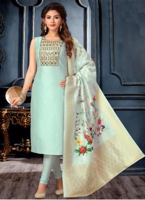 Blue Chanderi Designer Suit