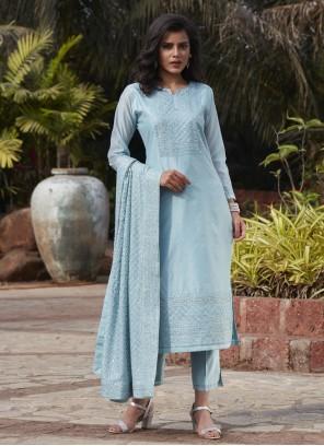 Blue Chanderi Fancy Readymade Suit