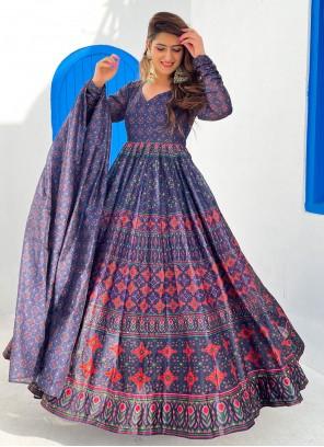 Blue Chanderi Festival Floor Length Designer Suit