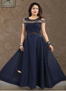 Blue Chanderi Reception Salwar Kameez