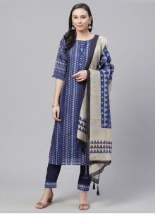 Blue Chanderi Trendy Salwar Kameez