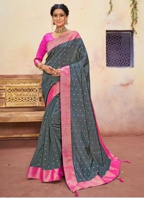 Blue Banarasi Silk Embroidered Classic Saree