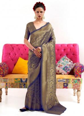 Blue Color Weaving Zari Work Silk Saree