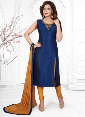 Blue Color Churidar Designer Suit