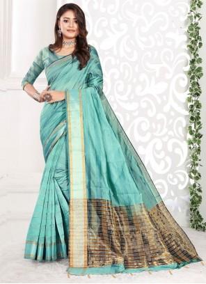 Blue Color Weaving Zari Classic Saree