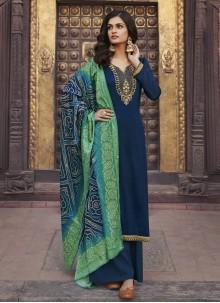 Blue Color Designer Palazzo Salwar Kameez