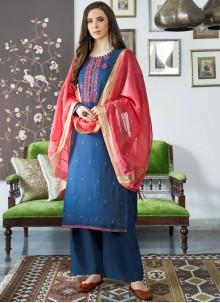 Blue Color Designer Palazzo Suit