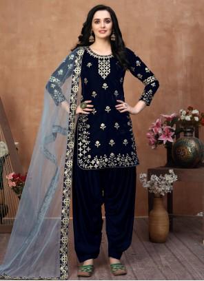 Blue Color Designer Patiala Suit