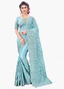 Blue Color Embroidered Faux Chiffon Designer Saree