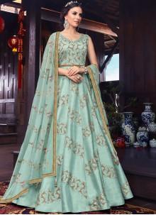 Blue Color Floor Length Anarkali Suit