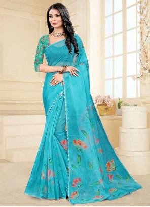 Blue Color Fancy Fabric Printed Saree