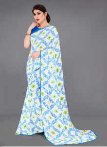 Blue Color Faux Georgette Printed Saree