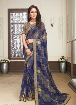 Blue Color Brasso Printed Trendy Saree