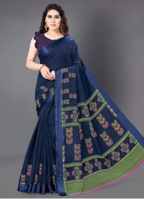 Blue Cotton Casual Saree