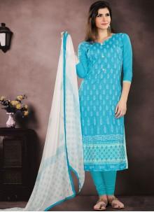 Blue Cotton   Churidar Salwar Kameez