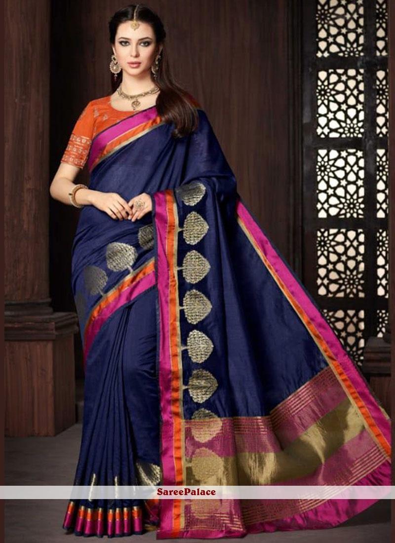 Blue Cotton   Classic Designer Saree