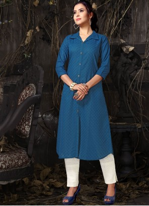 Blue Cotton Embroidered Casual Kurti