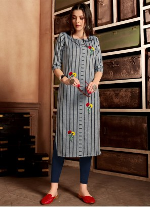 Blue Cotton Embroidered Designer Kurti