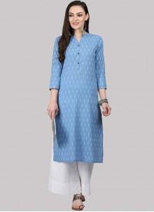 Blue Cotton Fancy Party Wear Kurti
