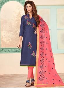 Blue Cotton Festival Churidar Designer Suit