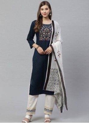 Blue Cotton Festival Designer Salwar Suit