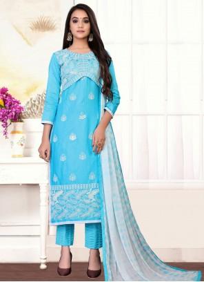 Blue Cotton Festival Designer Straight Suit
