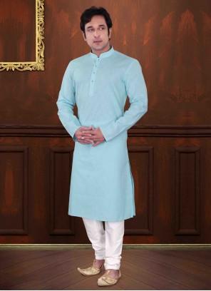 Turquoise Cotton Kurta Pyjama
