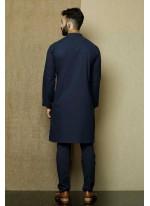 Blue Cotton Kurta Pyjama