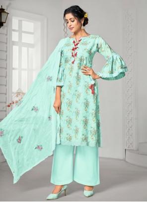 Blue Cotton Palazzo Designer Salwar Suit