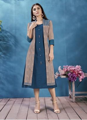 Blue Cotton Party Jacket Style Kurti