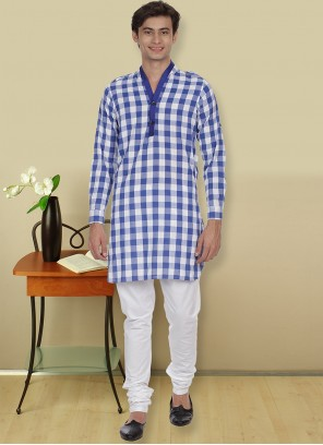 Blue Cotton Party Kurta Pyjama