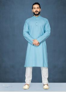 Blue Cotton Plain Kurta Pyjama