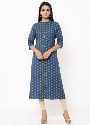 Blue Cotton Print Designer Kurti