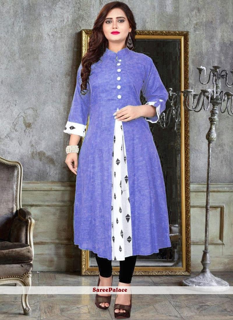 Blue Cotton   Print Party Wear Kurti