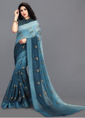 Blue Cotton Print Saree