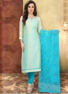 Blue Cotton Printed Churidar Designer Suit