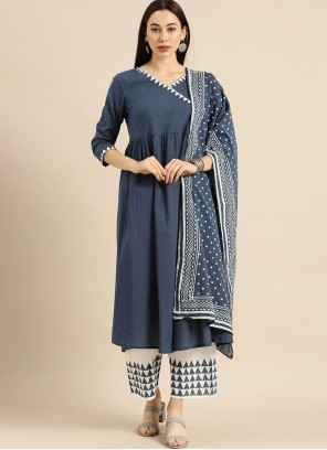 Blue Cotton Readymade Suit