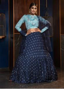 Blue Cotton Reception Lehenga Choli