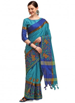 Blue Cotton Silk Classic Saree