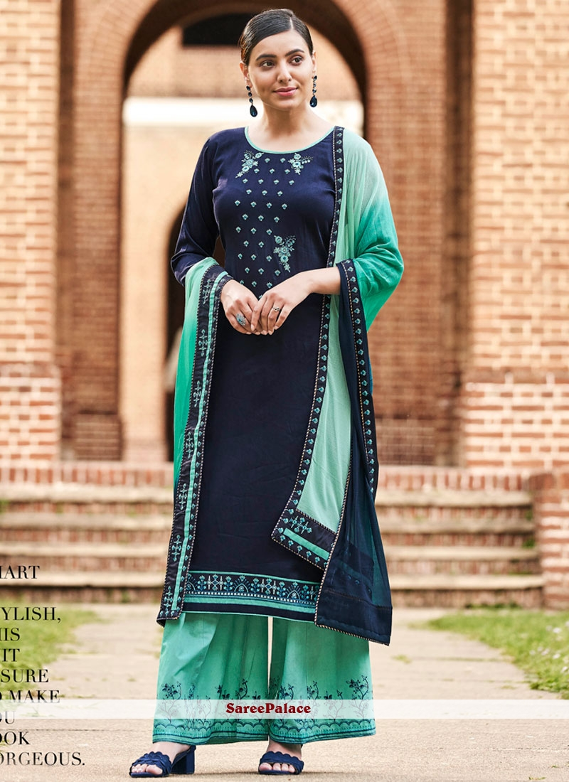 be048d84fd Buy Blue Cotton Thread Designer Palazzo Salwar Kameez Online