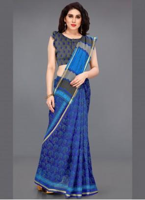 Blue Cotton Trendy Saree
