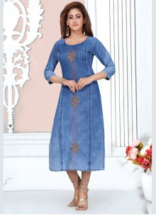 Blue Denim Party Churidar Salwar Suit