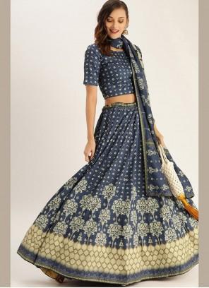 Blue Digital Print Designer Lehenga Choli
