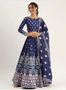 Blue Digital Print Engagement Designer Lehenga Choli