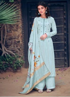 Blue Digital Print Festival Designer Pakistani Salwar Suit